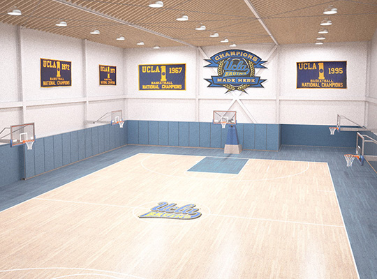 practice courts with hardwood floor, replica championship banners on walls