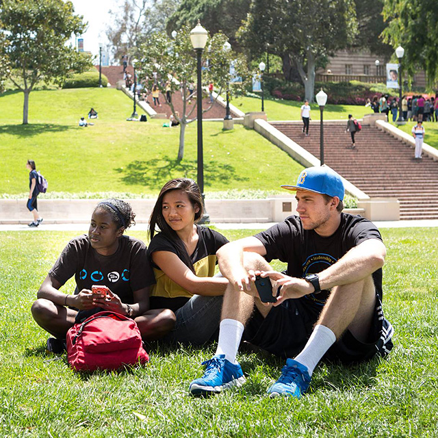 in the foreground a diverse group of students sits in the grass, intent on discussion; more students are visible in the background
